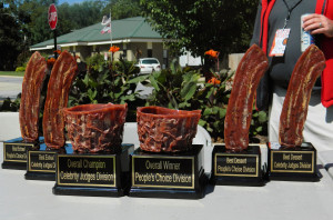 Trophies made from real bacon at Bacon Bowl 2014 in Bentonville, AR