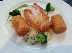 London cod with polenta rolls