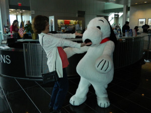 My Mom and Snoopy going in for a hug...