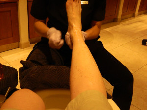 ...and applied to my feet and legs.