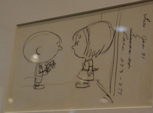 Charles Schulz's drawing for the real red-haired girl