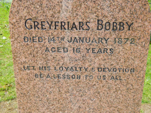 Greyfriars Bobby's gravesite in Edinburgh, Scotland