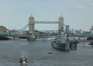 The Tower Bridge and HMS Belfast on the River Thames in London
