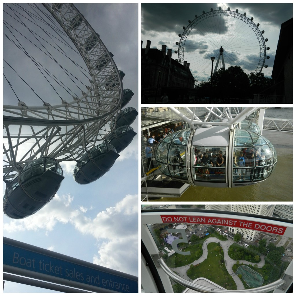 Different views of and from the London Eye