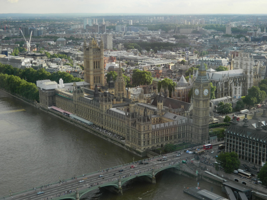 View from the London Eye of Big Ben and the UK Houses of Parliament